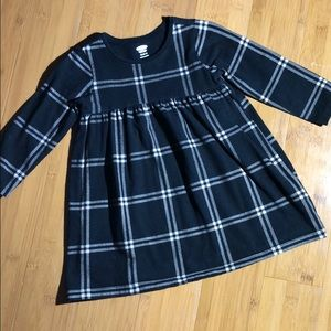 Old Navy Empire Waist Dress Black Plaid 18-24M